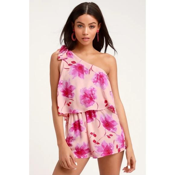 Lulu's Take a Wild Chance Blush Floral Romper XS